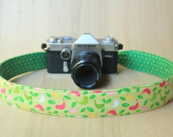 Camera Strap for DSLR - Crossbody, Reversible, Quick Release - Birds with Green Dots - Ready to Ship