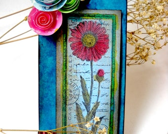 Altered Art Tag, Hand Coloured flower Tag, Mixed Media Tag