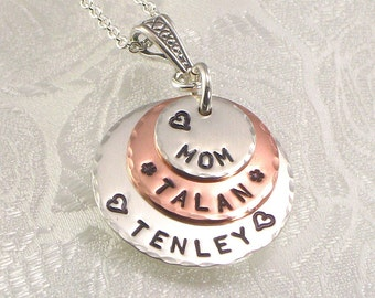 Personalized Mom Necklace with Kids Names Hand Stamped - Stacked Sterling Silver and Copper Layered Discs - For Mommy - Mom for Christmas