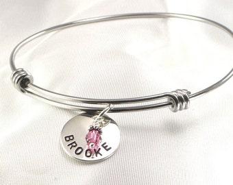 Personalized Bracelet ,  Mother's Charm Bracelet with Kids Names - Bangle Bracelet for Mom - Expandable Wire Braclet -  Women's Bracelet