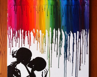 Skeleton love melted crayon art