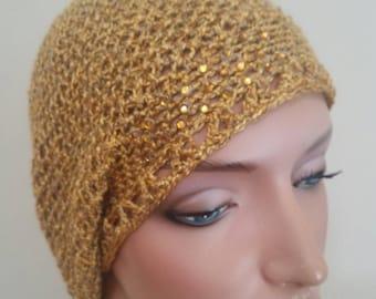 Crochet golden rode slouchy hat.