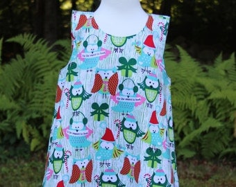 Toddler Christmas Dress - Aqua - Owl Toddler Dress - Only size 2T