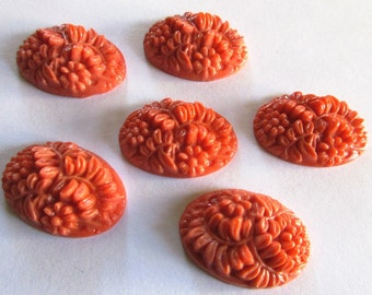 Vintage Venetian Glass Cabochon - Large Oval Glass Cabochons - Coral Pink Orange - 26mm X 18mm