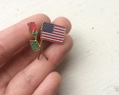 Vintage american flag rose lapel pin