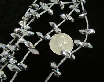 Faceted 12x7mm Chinese Briolette Crystals (Silver-plate)
