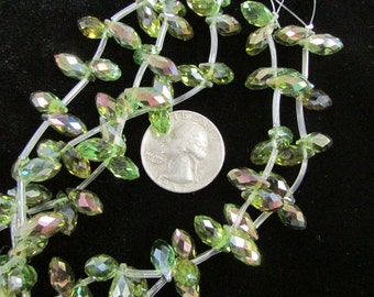 Faceted 12x6mm Chinese Briolette Crystals (Magic Green)