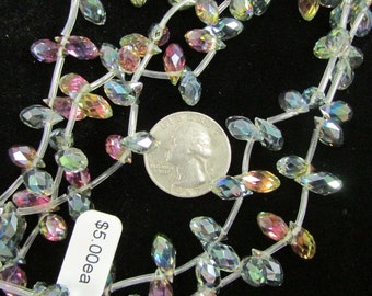Faceted 12x7mm Chinese Briolette Crystals (Watermelon)