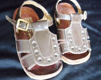 Brown Leather Vintage 1970's Infant Baby Shoes Sandals 4