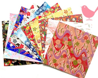 Scrap Pack - Japanese rice and origami paper ephemera, paper with beautiful golden print 3