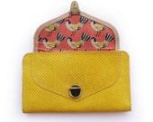 Mustard yellow wallet, Yellow leather women's wallet, birds women's wallet