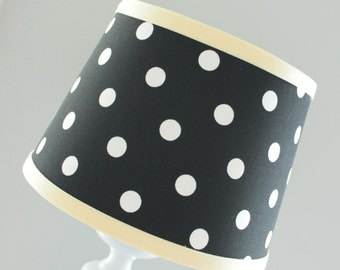 Small Black and white polka dot lamp shade with yellow trim.  Other colors available.