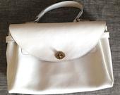 Handmade genuine leather white handbag or laptop bag for women