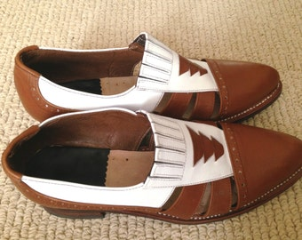 Brown and White Handmade Genuine Leather Oxford Fisherman Sandals: Size 8.5 or 25, Color Block Contrast