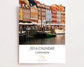 2016 Copenhagen Calendar - Desk Calendar - Travel Photography Calendar - New Years Eve Gift - Photo Calendar Architecture Cafes