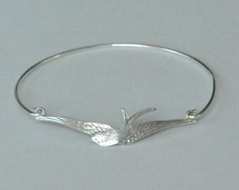 Bird Bangle, Sterling Silver, Swallow Bracelet, Birthday Gift, Christmas Gift, Bridesmaid Gift, Children's Jewelry