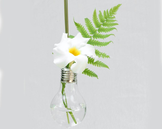 Glass Lightbulb Hanging Bud Vase For Live Flowers - Decorate Your Tree With Live Flowers - Perfect Poinsettia Holder - Light Bulb Ornament