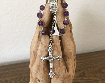 Virgin Mary with Jesus Amethyst Rosary Chaplet One Decade