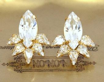 Crystal Earrings, Clear Crystal Earrings, Bridal Cluster Earrigs, Gift For Her, Swarovski Crystal Earrings, Bridesmaids Gifts, Stud Earrings