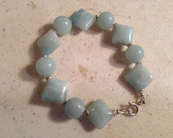 Blue Bracelet - Amazonite Gemstone Jewelry - Sterling Silver Jewellery - Fashion - Beaded