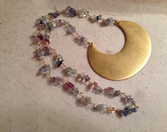 Fluorite Necklace - Gemstone Jewelry - Gold Jewellery - Fashion - Mod - Pendant - Purple - Green