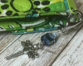 Dragonfly Zipper Pull, Key Chain Charm, Crochet Stitch Marker, Wallet or Purse Charm, Blue