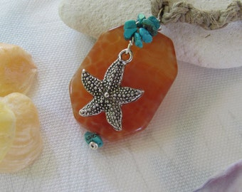 Starfish, Agate, and Turquoise Hemp Necklace