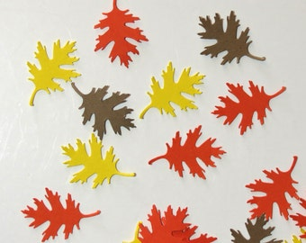 Fall Leaves Die Cut Embellishment Orange Yellow Brown 30 Pieces