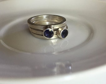 Stacking Sterling Silver Rings with Iolites, size 7