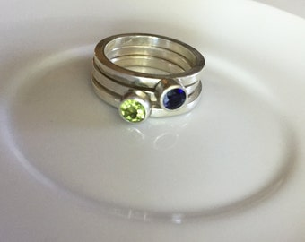 Stacking Sterling Silver Rings with Peridot & Iolite, size 7.5