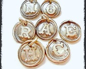 Tiny Silver Wax Seal Jewelry Initial Charms