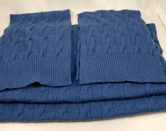 FELTED CASHMERE PIECES Blue Cable Knit with Ribbing Upcycled Sweater Woolen Fabric Scraps 1478
