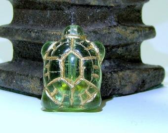 Czech Glass Turtle Peridot Green Gold 20x8 (5)