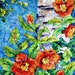 Batik Watercolor Aspen Birch Tree Poppies Orange by Martha Kisling