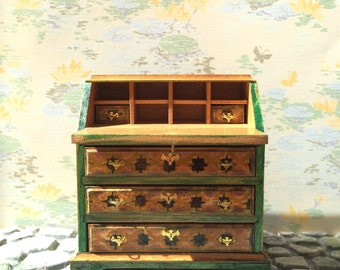 marquetry painted and hand stained slant top desk Dollhouse Size