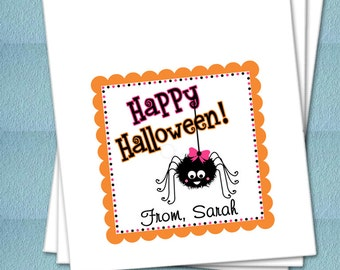 Personalized Halloween Favor Bags - Halloween Girly Spider - Party Favor Bags, Class Party Bags, Candy Buffet Bags, Trick or Treat Bags