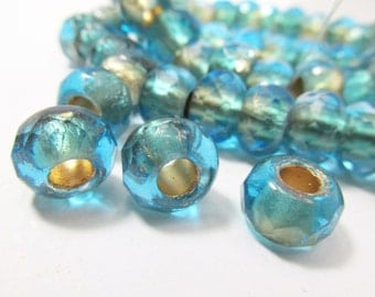 5 Sand and Sea Turquoise and Beige Czech Glass 12mm x 8mm Faceted Rondelle Roller Jewelry Beads with Large 5mm holes