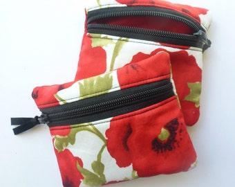 Poppy coin purse, zipped card pouch