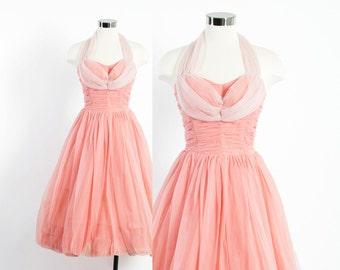 Vintage 50s DRESS / 1950s 2-Tone Pink Chiffon Halter Full Skirt Party Prom Dress S