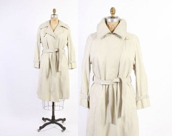 Vintage 60s COAT / 1960s BONNIE CASHIN Ivory Leather Belted Trench Coat S - M