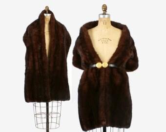 Vintage 50s MINK STOLE / 1950s Dark Brown Plush Extra Wide Long Mink Fur Shawl Wrap