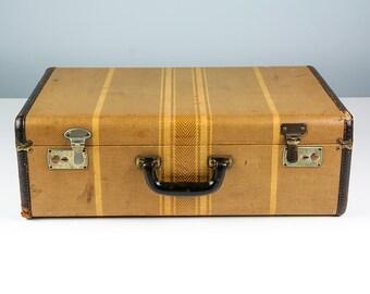 Vintage Striped Suitcase Suitcase Vintage 1920s Antique Suitcase Tweed Suitcase Old