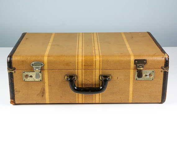 Vintage striped suitcase suitcase vintage 1920s antique - Vintage suitcase ...