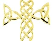 14k Gold Silver Irish Celtic Cross Pendant Necklace
