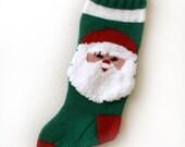 Christmas Stocking Hand Knit Santa Claus Green