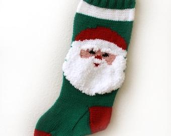 Christmas Stocking Hand Knit Santa Claus Green Blue