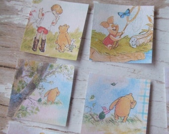 Winnie the Pooh paper squares - Scrap paper pieces - stamps - Winnie the Pooh Embellishments - decorative paper - scrapbooking - journal