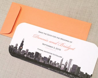 Save the Date Chicago Skyline Wedding Invitation Set of 10