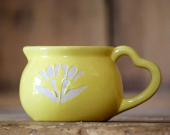 Vintage Yellow Ceramic Creamer with Heart Handle