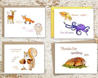 Funny Animal Puns Card Set, 4 Animal Pun Cards for Friends, Animal Lovers, Pun Lovers, Nerdy Pun Cards, Cute Animal Cards, Funny Animal Card